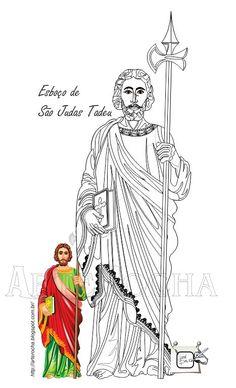 SÃO JUDAS TADEU = ESBOÇO Desenhando São Judas Tadeu, esboço. Desenho - Ilustração - Illustration - Drawing