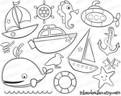 Nautical Digital Stamps Sailboats Sea Boats Submarine Seahorse Starfish Whale First Birthday DIY Invitations Party Decorations Clipart 30035 on Etsy, $5.00
