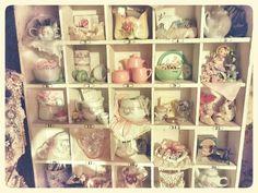 Craft Room Vignette/Vintage Shabby Chic/Vintage Baby/Pink Roses  photo by Julie Cruzan