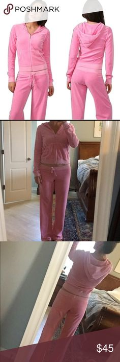Juicy Couture Classic Velour Tracksuit This is a classic velour jumpsuit from Juicy Couture in a soft pink color. Top has a zipper, hood and front pockets and is a size XL. Bottom has a drawstring and is a size M. I would say entire outfit fits like a true M/L. I typically wear a Medium bottom and Large Jacket and it is slightly big on me. I am 5'8, 145 for reference. Near perfect condition, the only place that has a tiny bit of wear is the very bottom on the pants. See photo. Juicy Couture…