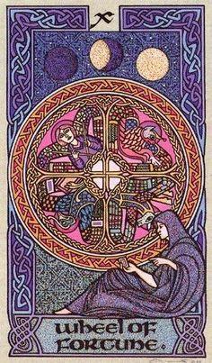 Wheel of Fortune Major Arcana Card Art | Celtic Tarot Deck | Oracle Cards