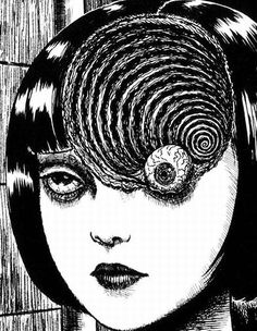 Junji Ito. Uzamaki. Uzumaki is a horror story - or more accurately a tightly linked series of stories - by Junji Ito, created in the late '90s. http://en.wikipedia.org/wiki/Junji_Ito