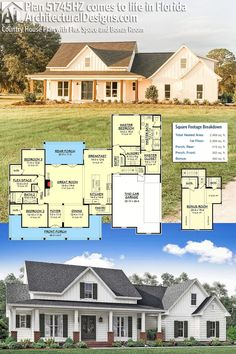 Country Farmhouse House Plan 51745HZ built by our client in Florida. This farmhouse plan gives you 2,400  square feet of living space with 3-4 bedrooms and 2-3 full baths. AD House Plan #51745HZ #adhouseplans #modernfarmhouse #farmhouse #farmhouseplans #countryfarmhouse #countryhome #homebuilding #homebuilder #diyhomebuilding #buildyourownhome #architecturaldesigns #houseplans #homeplans #floorplans #homeplan #floorplan #floorplans #houseplan