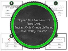 Forget scoots, worksheets, and boring repetitive practice!Get the kids up and moving around with a problem trail! This problem trail has 10 elapsed time problems. Just post the questions, copy the answer sheets, and off the kids go.The trail is designed to be self-checking.