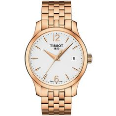 Tissot Tradition T-Classic White Dial Ladies Watch (15.455 RUB) ❤ liked on Polyvore featuring jewelry, watches, stainless steel watches, crown jewelry, water resistant watches, tissot and quartz movement watches
