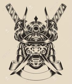 Illustration of mask warrior with swords. by Julianna_Million Illustration of mask samurai warrior with katana sword. Japanese Tattoo Symbols, Japanese Tattoo Art, Japanese Tattoo Designs, Japanese Warrior Tattoo, Samurai Maske Tattoo, Samurai Warrior Tattoo, Mascara Samurai Tattoo, Guerrero Tattoo, Back Tattoos For Guys Upper