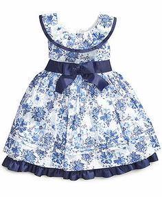 Nannette Little Girls' Printed Swiss-Dot Dress