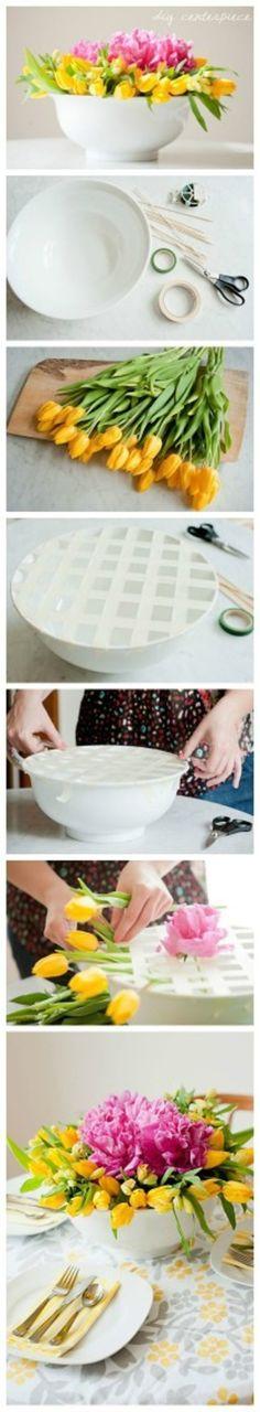 如何插花 floral bowl centerpiece