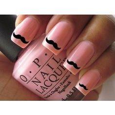 Light Pink Nails W/ Black Mustache Art,  Pretty Funny. I Love Black Nail Art Over Light Pink Nails.