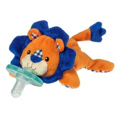 """6"""" lion Wubbanub™ with sewn in Soothie brand pacifier, a Mary Meyer exclusive license. - Latex free. BPA, PVC, and Phthalate free. - No cords or clips. - Safety tested. - Machine wash. - Packaged for"""