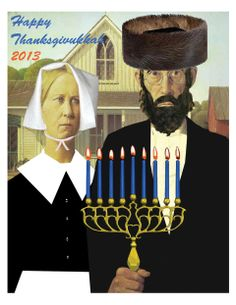 This image released by ModernTribe.com shows an American Gothic Thanksgivukkah Poster celebrating Thanksgiving and Hanukkah. (AP Photo/Moder...