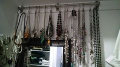 DIY necklace storage - IKEA grundtal stainless steel rails and hooks