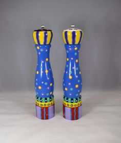 "Hand Painted Salt and Pepper Grinder Set, 12"" tall 