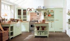 Design cuisine rétro couleur menthe