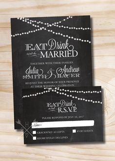 RUSTIC CHALKBOARD Eat Drink and Be Married String of Lights Wedding Invitation Response Card - 100 Printed Invitations & Response Cards