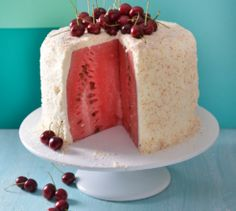 Watermelon cake.   You can have your cake and eat it with this watermelon cake! We'll have 2 slices, please.