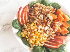 Quinoa Bowl with Vegan Thai Peanut Dressing Clean Recipes, Whole Food Recipes, Healthy Cooking, Healthy Eating, Lunch Bowl Recipe, Vegetarian Recipes, Healthy Recipes, Vegan Meals, Vegan Food