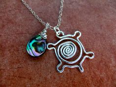 Turtle Spiral Tribal Charm Necklace Sterling by NKCollections, $35.00