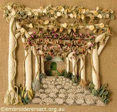 Casalguidi Garden Avenue by Pat Bootland ~ Own design. Pergola in casalguidi stitch. ~ Embroiderers Guild ACT