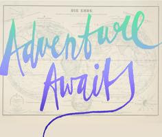 Experiment #13. Adventure Awaits. Handlettering by Annemarie Gorissen