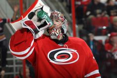 #35 Justin Peters hiding his #Movember progress behind his mask. #Canes