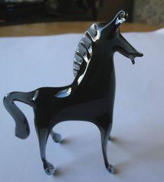 Horse, Unique Black Blown Glass Horse Figurine 5