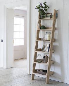 original Raw Oak Shelf Ladder, with 6 graded shelves, offers a striking and fresh shelving alternative.Our original Raw Oak Shelf Ladder, with 6 graded shelves, offers a striking and fresh shelving alternative. Leaning Ladder Shelf, Oak Shelves, Small Shelves, Ladder Decor, Ladder Bookcase, Ladder Storage, Bathroom Ladder Shelf, Step Shelves, Home Decor Ideas