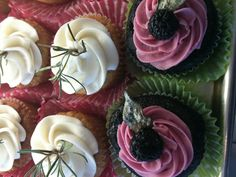 Rosemary Bourbon: Rosemary sugar infused vanilla bourbon cupcake with bourbon buttercream and a spring of fresh rosemary   Chocolate Blackberry Basil: Chocolate cupcake filled with basil pastry cream topped with blackberry buttercream, a fresh blackberry, and candied basil leaf  Visit www.carytown-cupcakes.com to see all of our Herbal Flavors and Classic Flavors!