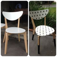 www.adornationblog.com IKEA hack of a Nordmyra dining chair.   Birch and white to black, white graphic pattern and dipped legs.