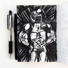 今日のウォーズマンは 「カールゴッチウォーズマン」 プロレスラーはやっぱ このポーズでしょう! ちょっとキュビズム的に 表現してみました。  #kinnikuman #warsman #ussr #yudetamago #illustration #muscle #pen #sketchbook #art #manga #japanese #Japan #manga #comic #tokyo #cubism  #6pack #キン肉マン #今日のウォーズマン #ゆでたまご先生 #イラスト #漫画 #落書き #ウォーズマン #イラスト #手描き #ペン #白黒 #スケッチブック