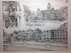 West Virginia University 12x16 collage print. Limited Edition pen and ink print from hand-drawn original of scenes on the Morgantown campus. Includes Woodburn Hall, Mountaineer Statue, and Mountainlair. It is from a series of 250 prints and is signed and numbered. Your purchase includes print, foam-core backing, and about-the-artist flyer within an acid-free packaging.