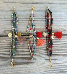 OOAK armcandy SET: 4 beaded bracelets in beautiful by BonkIbiza Nice bracelets, but not a fan of the pompoms. Tassel Jewelry, Bohemian Jewelry, Beaded Jewelry, Jewelry Bracelets, Jewelery, Beaded Necklace, Leather Jewelry, Handmade Bracelets, Handmade Jewelry