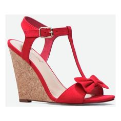 Justfab Wedges Kileen (170 RON) ❤ liked on Polyvore featuring shoes, sandals, red, strappy platform sandals, summer wedge sandals, platform sandals, strap sandals and high heel sandals