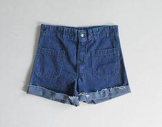 vintage 70s denim sailor shorts | size m - l
