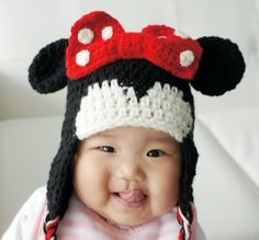 Minnie Mouse Hat, Crochet Mouse Hat, Crochet Baby Hat, Baby Hat, photo prop, Inspired by Minnie Mouse. $19.99, via Etsy.