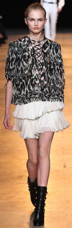 Isabel Marant ~ Fall Black + White Silk Blouse w White Mini Ruffled Skirt, 2015 #FW15 #ReadytoWear #IsabelMarant