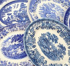 Job Lot of 5 Vintage Mismatched Blue & White Willow Pattern