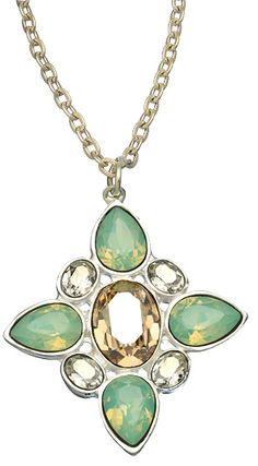 Diana Warner Silver and Opal Swarovski Crystal Tess Pendant Necklace is the definition of spring and summer!