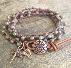 "Copper Dragonfly Crochet Multi Wrap ""Boho Chic"""