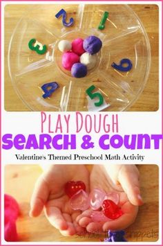 Playdough Search and Count: Preschool Math Activity. Easy to put together activity reinforcing counting skills, number recognition, and fine motor skills!