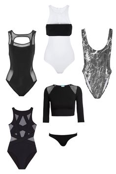 Shop the 10 best bathing suit trends for summer 2015: sporty black and white one-pieces.