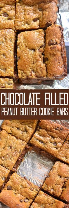 2-ingredient Chocolate Filled Peanut Butter Cookie Bars. Oven ready in under 5…