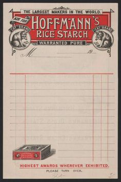 """""""Hoffmann's Rice Starch"""" vintage invoice (1900s) 2 color, floating bottom element"""