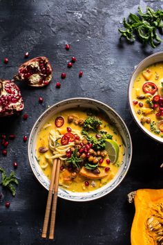 "Thai Pumpkin Laksa with Crunchy ""Fried"" Chickpeas 