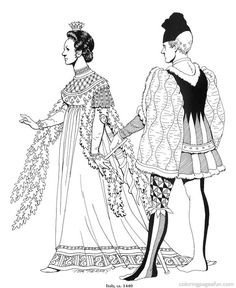 Renaissance Costumes and  Clothing Coloring Pages 10