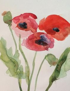 Red Poppies no. 12 Original Watercolor Painting by Angela Moulton