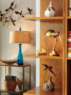 Blenko mid-century style table lamp adorns a side table.
