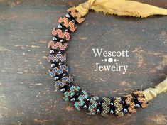 Rainbow Ombre Carrier Bead Peyote Stitch Necklace with Rainbow