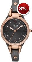 "Looking for FOSSIL Watches? We stock a huge range, offer great prices and a free delivery - Black Women's Watch FOSSIL ""GEORGIA"" online today from our Madisson Jewellery Shop Black Leather Watch, Grey Leather, Soft Leather, Fossil Watches, Women's Watches, Luxury Watches, Gold Watches, Dress Watches, Ladies Watches"