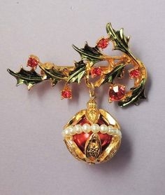 TANCER 11 Vintage Rhinestone Enamel Holly Pearl Christmas Ornament Pendant Brooch